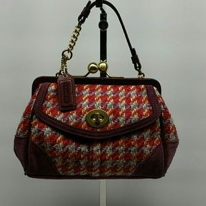 COACH HAMPTONS HOUNDSTOOTH MULTICOLOR WOOL BAG